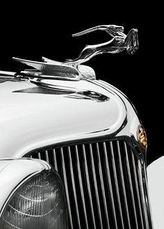 Antelope hood ornament on a 1933 Chrysler Imperial Custom Dual Windshield Phaeton. Image taken at the 2012 San Marino Motor Classic.