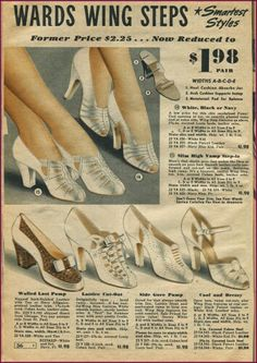 NewVintageLady: Catalog Sunday: More shoes please Edition. Shoes Ads, Fly Shoes, Retro Shoes, Vintage Shoes, Dance Shoes, Vintage Dresses, 1940s Fashion, Vintage Fashion, Vintage Style