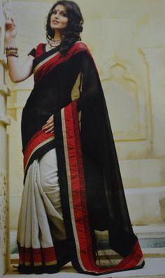Black and Cream Colour Rawsilk Material Sarees : Khushi Collection Indian Attire, Indian Wear, Indian Dresses, Indian Outfits, Beautiful Saree, Beautiful Dresses, Trendy Sarees, Indian Sarees Online, Latest Designer Sarees