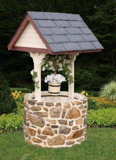 Image detail for -shopping home garden decor stone base wishing well Diy Garden Projects, Outdoor Projects, Outdoor Decor, Dream Garden, Garden Art, Home And Garden, Wishing Well Garden, Garden Structures, Garden Inspiration