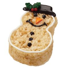 Crispy and Cheery Snowman Treats - Winter's friendliest face pops up on these fun crisped rice cereal treats. Cut the shape and add the colorful details using the snowman cutter, Candy Melts candy and sprinkles from the Snowman Treat Decorating Kit.