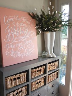 Love color and font. Love classic hymns on wall to prompt song in mind. Cute idea for living room. My Living Room, My New Room, Home Improvement, Sweet Home, Sweet Sweet, Wall Decor, Wall Art, Diy Projects, House Design