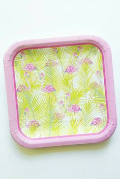 Listing is for 14 Flamingo Decorative Square Plates Size: 9x9  We have matching Flamingo Napkins as well!!! (see below)  https://www.etsy.com/listing/400021593/flamingo-napkins-lets-flamingle-party  Great for Luau,Flamingo Party, Lets Flamingle Theme