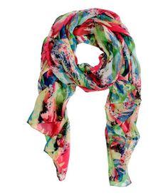 This painterly multicolored scarf  is the perfect lightweight accent to carry you through to spring. | H&M Accessories