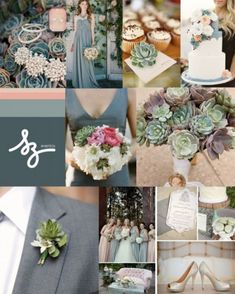Collage de inspiración para decorar tu boda con plantas suculentas - Foto Style Me Pretty y Northwest Florist. Diseño deRaisa Torres para SZ Eventos