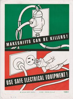 Vintage Workplace Safety Poster National Safety Council - Use Safe Electrical Equipment.
