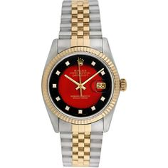 Rolex Women's Vintage Rolex Unisex Two-Tone Diamond Datejust Watch,... ($5,320) ❤ liked on Polyvore featuring jewelry, watches, no color, red watches, diamond watches, 80s jewelry, mint green watches and unisex watches
