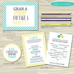 "Reception Package Birds of a Feather  by replybydesignstudio, $40.00- has both the ""I spy"" and ""mad libs"" AND the photo booth sign that I want!!!!"