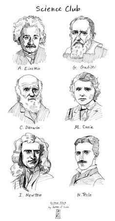 Science Decor Art Print - Famous Scientists in History, Classroom Poster, Science Teacher Gift, Geek Wall Art Isaac Newton, Marie Curie, Nikola Tesla, Tesla Tesla, Charles Darwin, Science Art, Science And Nature, Science Drawing, Physical Science