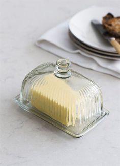 Cornbury Pressed Glass Butter Dish