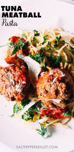When I think of weeknight dinner recipes for family, this Sicilian pasta with tuna meatballs is always on my list. It's an easy meatballs recipe for tuna that goes well with pasta and tomato sauce. This Sicilian tuna pasta is a perfect comfort food, while the tuna meatballs alone will be great as meatball appetizers for a crowd. Give it a try! Seafood Pasta Recipes, Yummy Pasta Recipes, Tuna Recipes, Chicken Pasta Recipes, Dinner Recipes, Meatball Appetizers, Appetizers For A Crowd, Meatball Recipes, Healthy Pasta Dishes