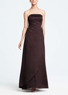 David's Bridal Bridesmaid Full-length Satin Gown Ruching & Brooch # 8567 Size 18