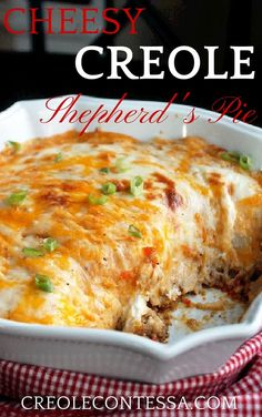 Cheesy Creole Shepherds Pie - from the Creole Contessa - could substitute ground beef for the turkey