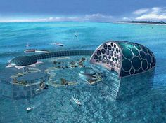 Crescent Hydropolis, currently being constructed in Dubai, will be the world's first luxury underwater hotel. To enter the 200 submarine suites, guests will arrive at a land station, then be transported via train to the main area of the hotel offshore. The 1.1-million-square-foot area will include a shopping mall, restaurants, movie theaters, and missile-defense system, all 60-feet underwater.