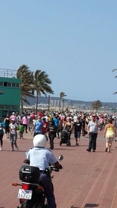 the wide promenade and rollerskaters