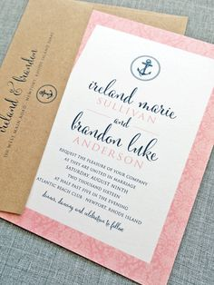 So in love with this color palette - and the nautical nods make it all the more cute! #wedding #invitation