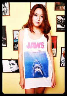 JAWS 1975 T Shirt Tank Top Shirts Blouses Ladies by WeAreYoungShop, $14.99