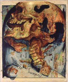 Juxtapoz Magazine Best of 2013 - Map Painting by Fernando Vicente Arte Com Grey's Anatomy, Anatomy Art, Map Painting, Les Continents, Spanish Artists, Vanitas, Art Graphique, Vintage Maps, Pablo Picasso