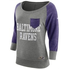 Nike Women's Baltimore Ravens Vintage Crew Long Sleeve T-Shirt ($23) ❤ liked on Polyvore featuring tops, t-shirts, long sleeve tees, long sleeve t shirts, vintage tees, nike t shirt and green tee