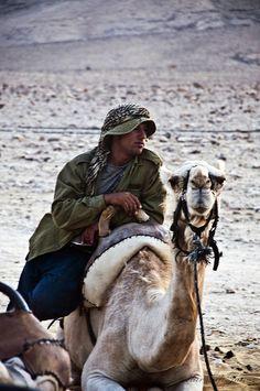 Bedouin and Camel  Kfar Hanokdim Bedouin Camp. Arad, Israel. 2011