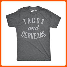 Mens Tacos and Cervezas Funny T shirts for Cinco de Mayo Novelty T shirt (Grey) L - Cool and funny shirts (*Amazon Partner-Link)
