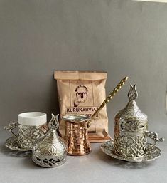 Coffee Gift Set For 2 This set is made especially for coffee explorers in other words for coffee lovers. Perfect for who is looking for new rituals or create moments of joy in day-to-day life. Treat yourself or gift to your loved one! Coffee Gift Sets, Coffee Gifts, Coffee Set, Copper Pots, Turkish Coffee, Brass Handles, Silver Color, Porcelain, Pure Products