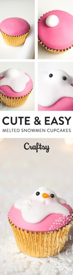 These melted snowmen cupcakes are TOO CUTE! @craftsy