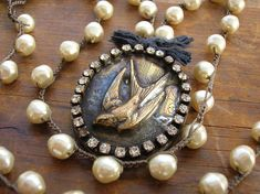 Long crochet pearl necklace Vintage locket necklace crochet