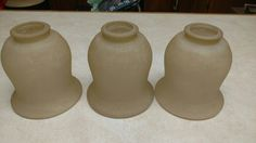 """3 Bell Shaped Golden Taupe Frosted Glass Lamp Shade  Globe Amber 1 5/8""""Fitter"""