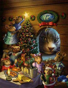 Bad Kitty watching Mice Family celebrate Christmas