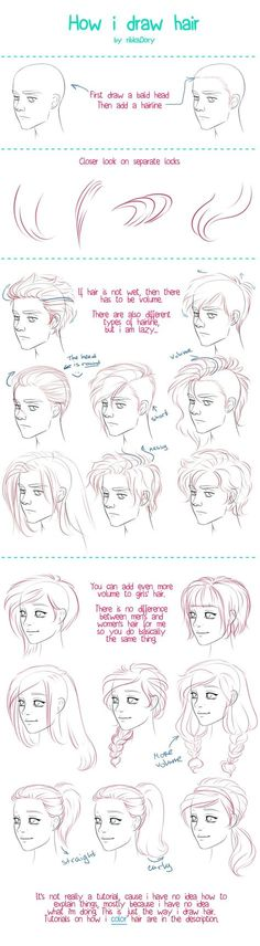 How to Draw Hair tutorial by =ribkaDory on deviantART: by drawing the ends and hairs at hairline close together you can create shading and a sense of form.: tutorial How I Draw Hair by ribkaDory on DeviantArt Drawing Lessons, Drawing Techniques, Drawing Tips, Drawing Reference, Drawing Sketches, Painting & Drawing, Sketching, Drawing Ideas, Design Reference