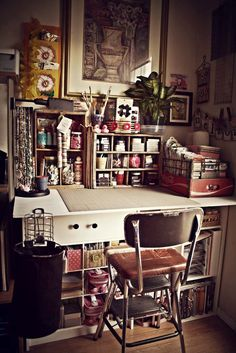 This is more like me-vintage solutions, not plastic (it has it's place but too much is an eyesore-not constructive for creativity) Studio Space (Before) - Art Supplies - Creative Space - Organized