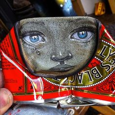 hand-painted can street art by My Dog Sighs