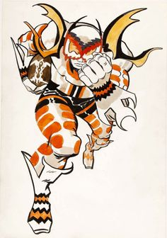 Jack Kirby Cleveland Browns Fantasy Illustration Original Art (NFL Properties, c. Cleveland Browns head - Available at 2009 February Signature Comics. Comic Book Artists, Comic Books Art, Comic Art, Kirby Character, Character Design, Comic Character, Comic Frame, Jack Kirby Art, 70s Sci Fi Art