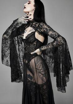 Widow Dusk Before Dawn Lace Shrug - Black Dark Fashion, Gothic Fashion, Steam Punk, Cosplay, Estilo Dark, Gothic Lingerie, Sexy Lingerie, Emo, Gothic Looks