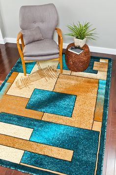 Turquoise Gold Beige Contemporary Abstract Modern Rugs - Bargain Area Rugs