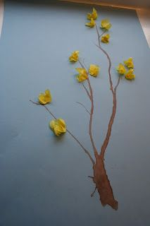 Forsythia - Use a straw to blow the paint stem...tissue paper flower