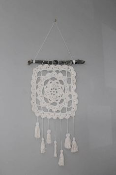 Items similar to Crochet Wall Hanging//Handmade//Granny Square//Cotton//Boho//Tassels//Dream Catcher on Etsy Diy Crochet Patterns, Crochet Wall Hangings, Different Colors, Dream Catcher, Stitches, Tassels, Colours, Texture, Boho