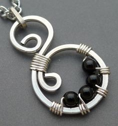 Simple pendant. ~ Aluminum Swirl Necklace with Black Onyx