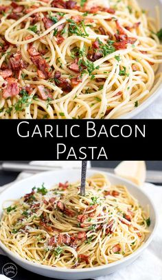This Easy Garlic Bacon Pasta Recipe is going to be your go-to weeknight meal whe. This Easy Garlic Bacon Pasta Recipe is going to be your go-to weeknight meal when you need a quick dinner on the tab Bacon Noodle Recipes, Pastas Recipes, Easy Pasta Recipes, Easy Dinner Recipes, Pasta Ideas, Italian Pasta Recipes, Garlic Recipes, Easy Delicious Recipes, Recipes With Pasta Noodles