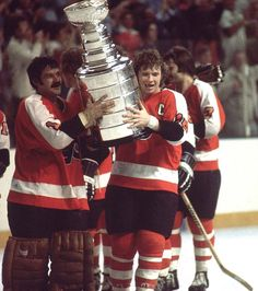 Bernie Parent and Bob Clarke 1975 Stanley Cup Flyers Hockey 36faeea55