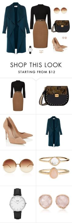 """Furla Club Bag Outfit"" by joanafig ❤ liked on Polyvore featuring Phase Eight, Lipsy, L.K.Bennett, Linda Farrow, Accessorize, CLUSE and Monica Vinader"