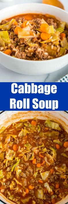cajun dishes Cabbage Roll Soup - a simple soup that has all the taste of traditional stuffed cabbage rolls that is ready in minutes. It is hearty, filling, healthy and delicious! Quick Soup Recipes, Chili Recipes, Easy Dinner Recipes, Cooking Recipes, Unstuffed Cabbage Roll Soup, Cabbage Soup, Cajun Dishes, Cabbage Rolls, Slow Cooker Pork