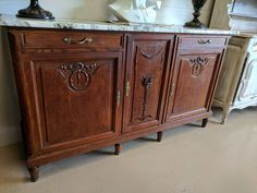"""Antique French Oak Marble Top Sideboard W 74"""" x H 42"""" Floral Carvings  #LouisXV"""