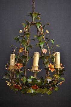 Italian tole flower chandelier pinterest flower chandelier vintage floral fruit chandelier on pinterest floral chandelier aloadofball Images