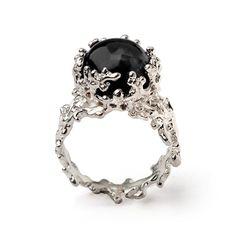 ON SALE CORAL 14k White Gold Onyx Ring Black Onyx by arosha