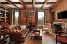 New York's Most Expensive Rental Apartment: Look Familiar? Great combo space---{The library features a beautiful, original fireplace.)
