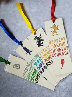 Harry Potter Laminated House Pride Bookmarks - 4 pack by isolemnlyswearx on Etsy https://www.etsy.com/listing/487150183/harry-potter-laminated-house-pride