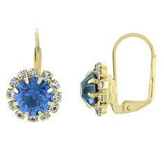 4.0 ctw Brilliant Ocean Sapphire Stones Golden Leverback earrings #FolksJewlrey #Hoopleverback