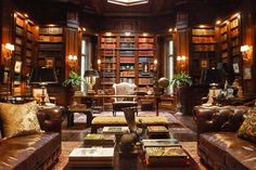 Some Gotham Inspo - set design/ wayne manor library:Andrew Baseman - a color palette of brown, gold, red, and burgundy and scoured antiques stores Architectural Digest, Library Design, Home Office Design, House Design, Set Design, Library Room, Dream Library, Man Cave Library Ideas, City Library